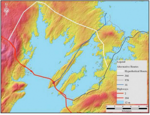 A 12 m storm surge could make Nova scotia an island. The white line shows a possible route along the highest points of land.
