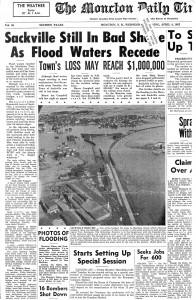 Newspaper coverage of Sackville's 1962 flood