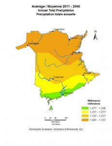 Total annual precipitation is expected to increase but fall in fewer, more intense events.
