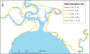 The location of dykes and their heights.