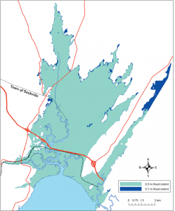 Estimate current extent of flooding from an 8.9 m flood in Sackville