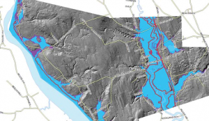 Current (blue) and future (purple) 100 year flood events in Memramcook. Flood depths equal 7.58 m and 8.6 m respectively