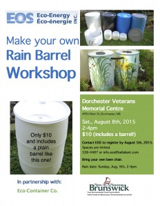 Dorchester Rain Barrel Workshop poster  2015