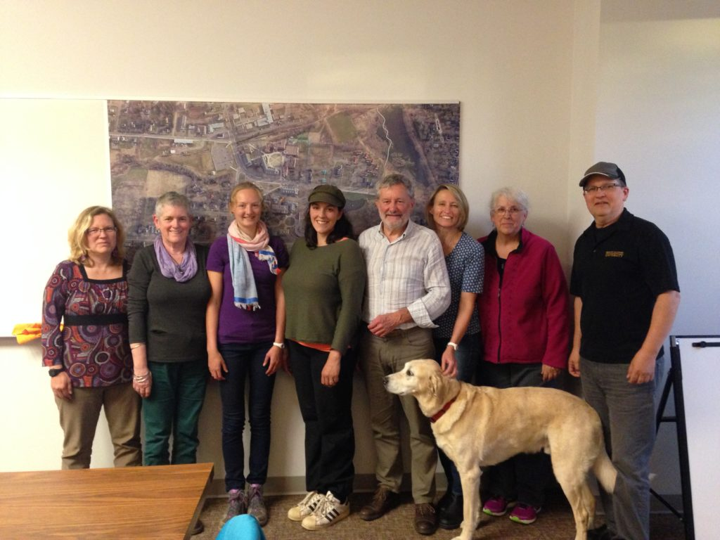 Alice Cotton, Val MacDermid, Catherine Priemer, Marianne Vella-Dickson, Peter Higham, Barb Clayton, Simonne Malenfant-Edgett, Perry Eldridge, and Joey the yellow lab.
